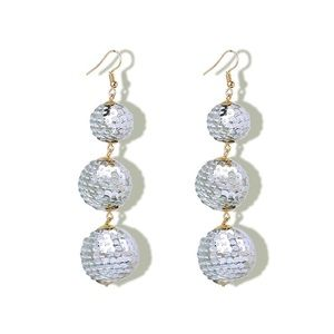Jewelry - Sequin Wrapped Drop Ball Earrings